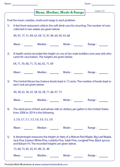 Printables Mean Median Mode Range Worksheets mean median mode and range worksheets word problems level 2