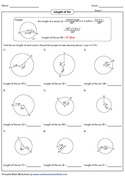 Area of sector worksheet answer key