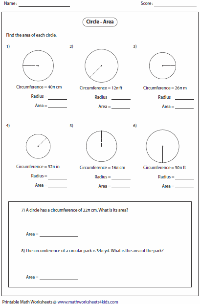 Printables Circumference Worksheet circumference and area of circle worksheets finding from circumference