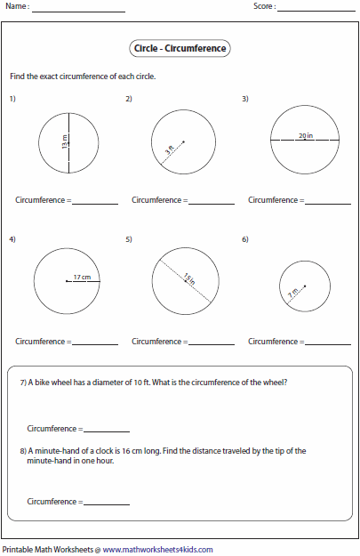 Printables Circumference Worksheet circumference and area of circle worksheets worksheets