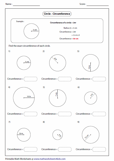 Printables Circumference Worksheet circumference and area of circle worksheets