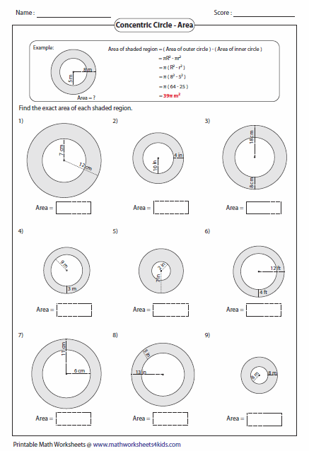Printables Area Of A Circle Worksheet circumference and area of circle worksheets concentric circles