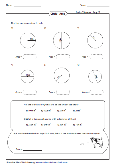 circumference and area of circle worksheets. Black Bedroom Furniture Sets. Home Design Ideas