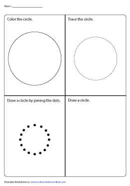 Coloring, Tracing, Joining the Dots, and Drawing a Circle