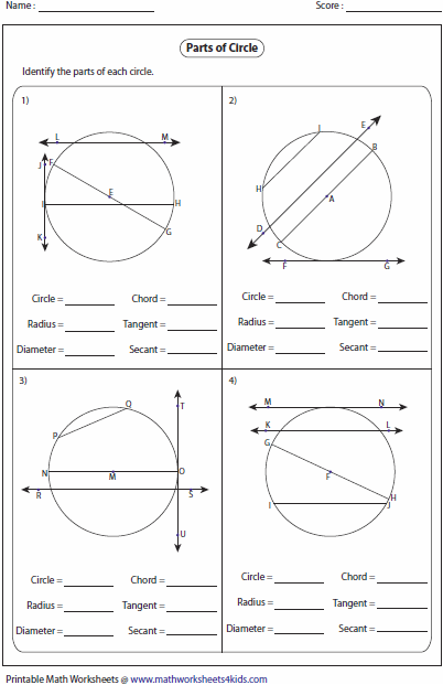 Circles Worksheets