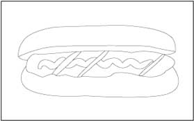 fast hot dog and hamburger coloring page