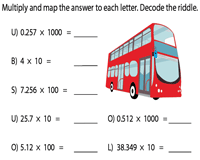 Riddle | Multiplying decimals with 10, 100 or 1000