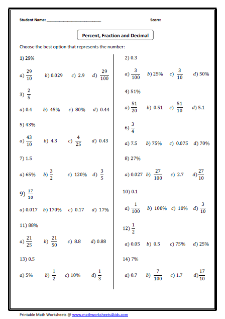 convert between fraction decimal and percent worksheets  fraction or decimal or percent multiple choice questions conversion