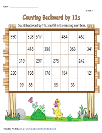 Counting Backward by 11s | Partially Filled Charts