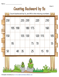 Counting Backward by 5s | Partially Filled Charts