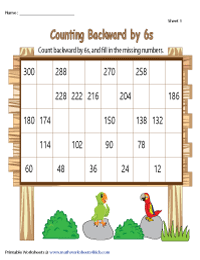 Counting Backward by 6s | Partially Filled Charts