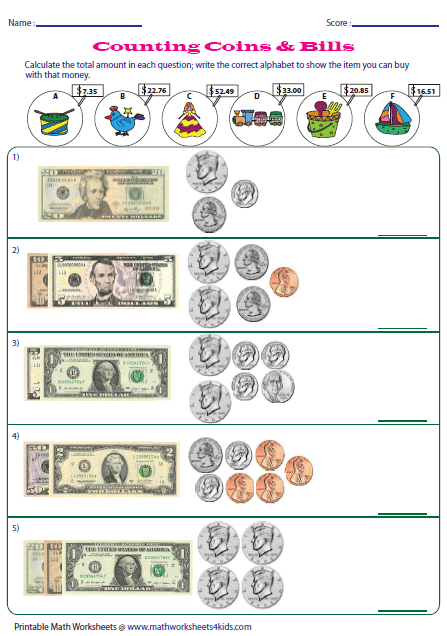 Printables Counting Money Worksheets money worksheets counting u s coins and bills