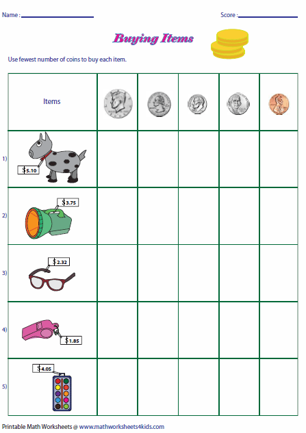 ... five items for sale. Use the fewest number of coins to buy each item