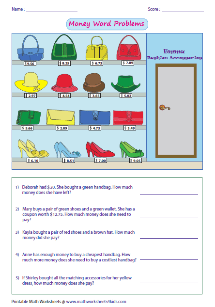 math worksheet : money worksheets : Subtracting Money Worksheet