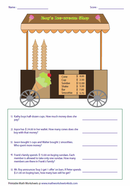 Money Worksheets – Multiplying Money Worksheets