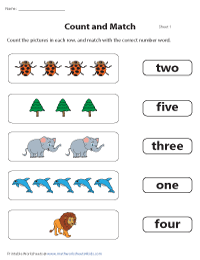 Matching Number Names and Pictures