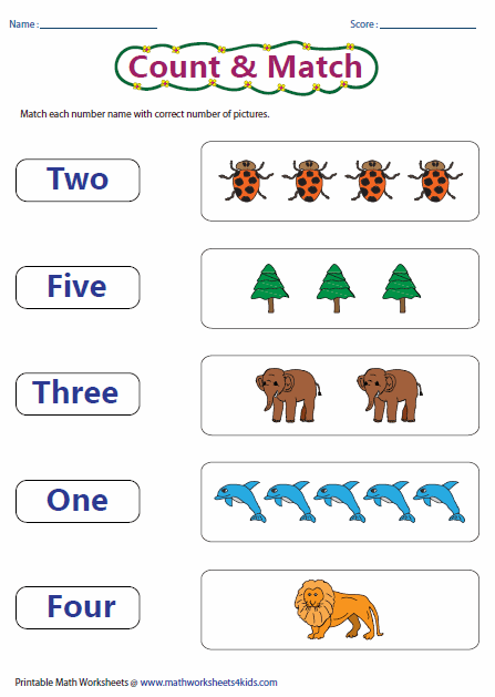 Printables Number Words Worksheet counting worksheets matching number name