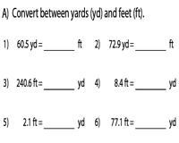 Conversion between Feet and Yards | Decimals