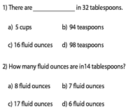 Conversion between Teaspoons, Tablespoons, and Fluid Ounces | MCQ