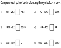 comparing decimals worksheets additionsubtraction of decimals easy
