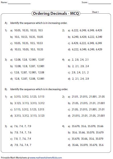 Decimals Worksheets - Math Worksheets 4 Kids