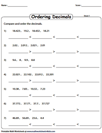 Ordering Decimals Worksheets