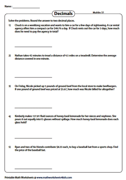 decimal word problems worksheets multiplication and division