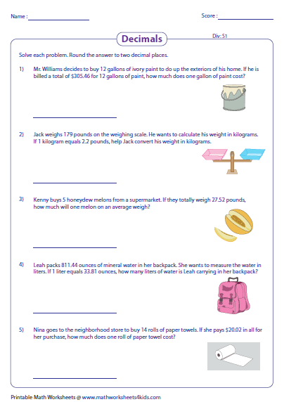 Decimals word problems worksheets 4th grade