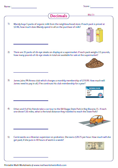 math worksheet : decimal word problems worksheets : Decimal Multiplication Word Problems