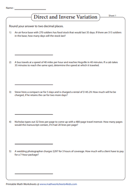 Variation Word Problems Worksheets | Direct, Inverse, Joint ...