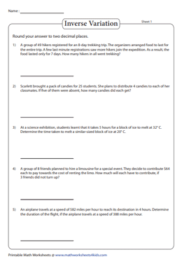 Variation word problems worksheets direct inverse joint combined inverse variation inverse variation word problems ibookread