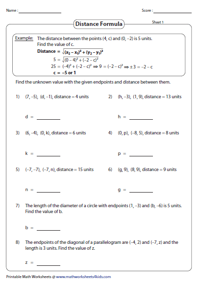 Printables Distance Formula Worksheet distance formula worksheets finding a missing coordinate