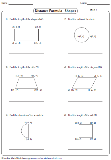 Printables Distance Formula Worksheet distance formula worksheets between two points shapes