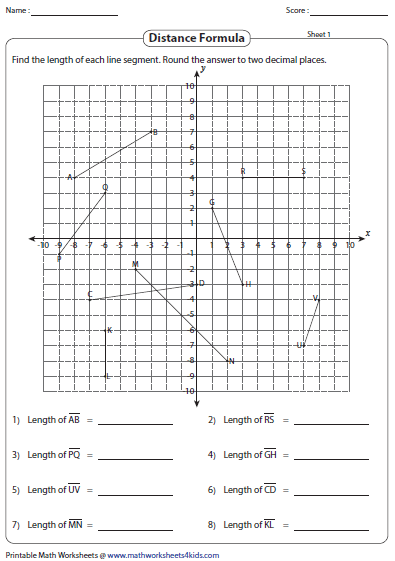 Distance Formula Worksheets