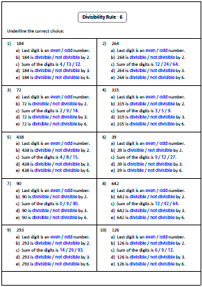 Each number below represents the divisor and the worksheet is based on ...