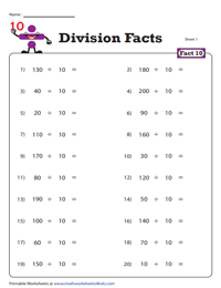 Division Fact - 10
