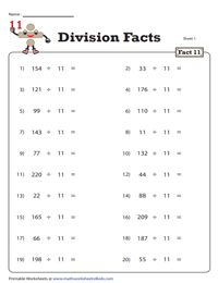 Division Fact - 11