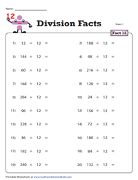 Division Fact - 12