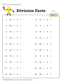Division Fact - 4