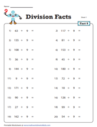 Division Fact - 9