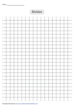 Division Using Grids Worksheets Graph Paper Division Method