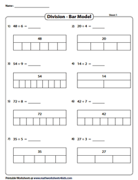 Division Models Worksheets | Area Model, Bar Model, Array
