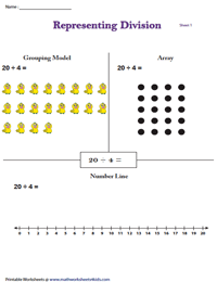 Representing Division in 3 Models | Activity Worksheets