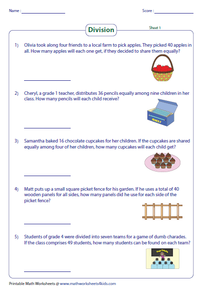 4th grade division word problems with answers