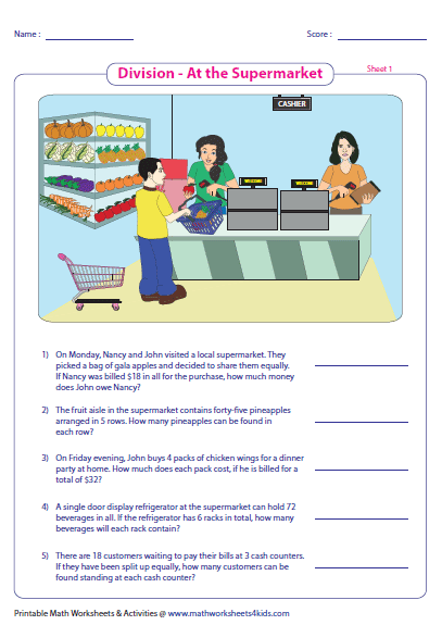 Math Worksheets supermarket math worksheets : Division Word Problems Worksheets