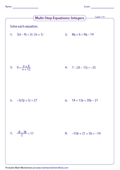 Integers Level Large on multi step equations with fractions worksheet