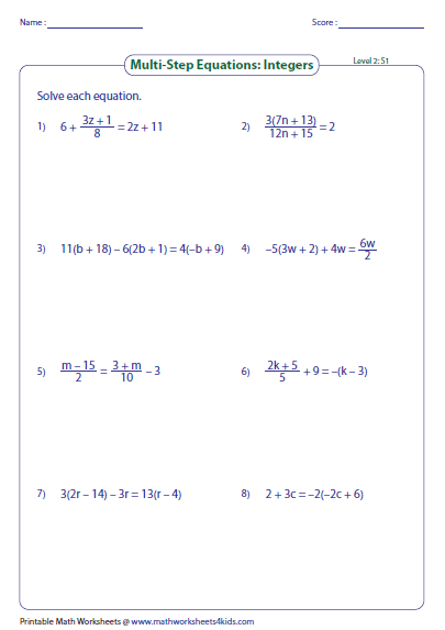 Printables Solving Equations Practice Worksheet multi step equation worksheets preview
