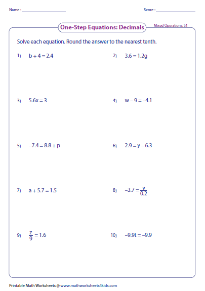 Printables Solving Equations By Adding Or Subtracting Worksheets one step equation worksheets preview
