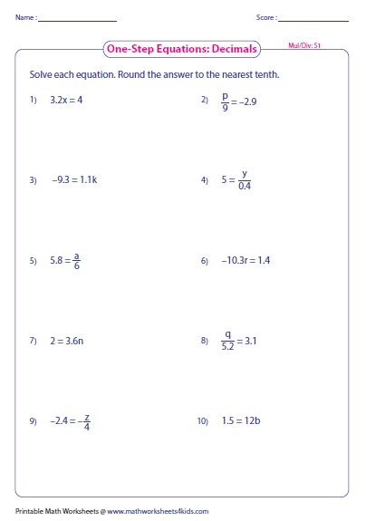 One Step Equation Multiplication Division on Solving Two Step Equations Worksheet