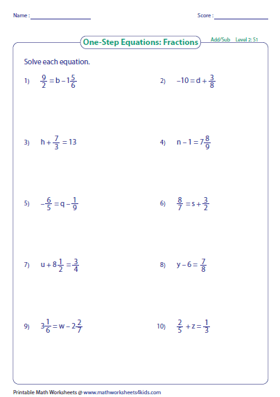Worksheets One Step Equations Worksheet one step equation addition and subtraction preview